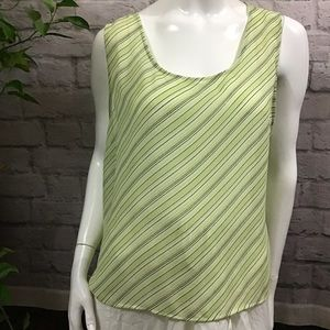 Flowy green size 18 blouse striped tank top casual